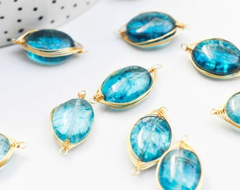 Pendant connector oval metal gold blue glass, creation jewel crystal and gold,23mm, unit