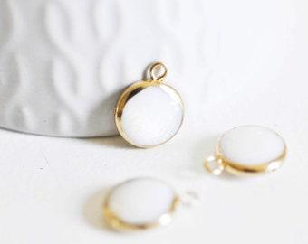 Pendentif nacre blanche naturelle doré,fourniture créative,pendentif rond nacre,coquillage blanc,création bijou, 12mm, l'unité,G2140