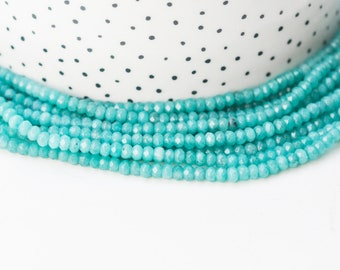 Pearl abacus jade tinted turquoise blue, pearl jade, natural stone, natural jade, pearl stone facet, 4x2mm, thread 140 pearls