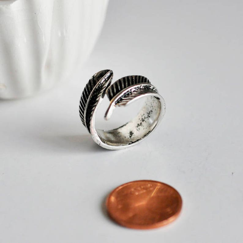 jewelry creation minimalist jewelry ring support men/'s ring Adjustable silver feather ring iron ring jewelry creation men/'s jewelry,17mm