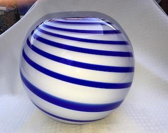 Beautiful Handmade White VASE with Cobalt Blue Swirls