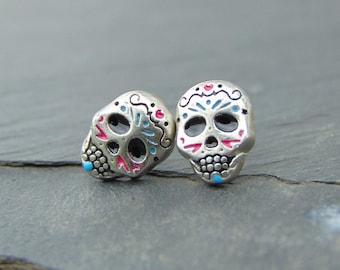 Silver Sugar Skull Earrings Big Boho Rose Lightweight Sugar Skull Statement Jewelry Gift