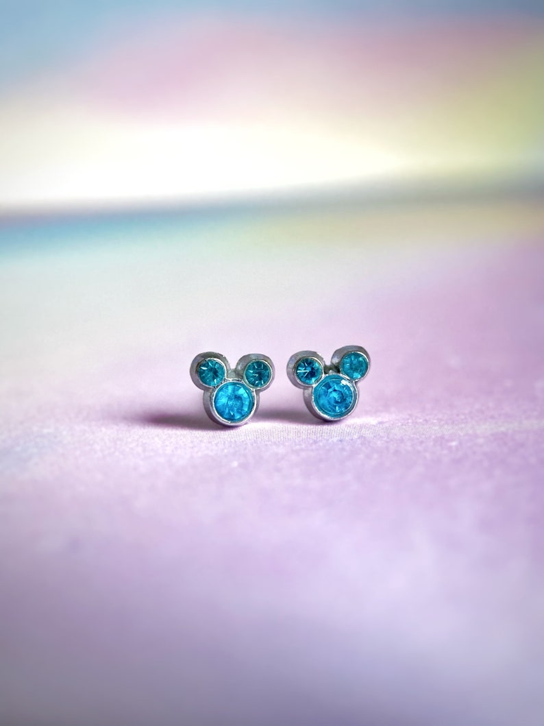Cute Little Turqouise Gemstone Disney Mickey Mouse Inspired EarringsMickey Mouse Stud Earrings Disney Jewellery Disney Gift