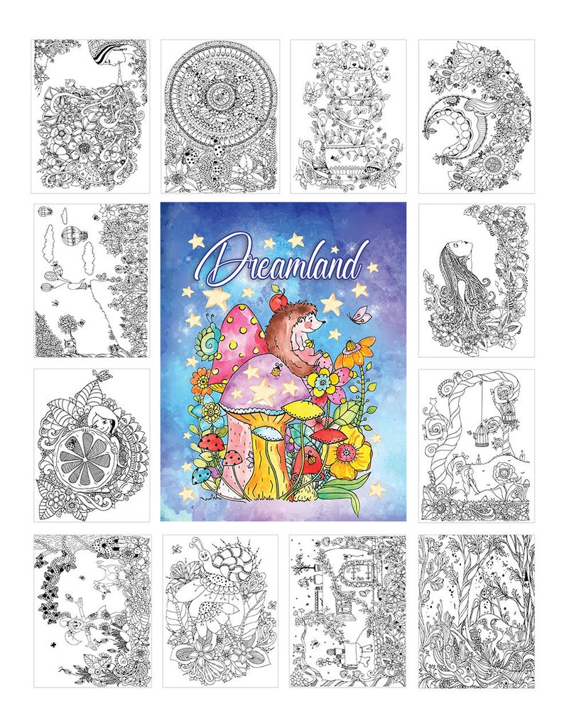 Dreamland Coloring Books Coloring Pages Adult Coloring | Etsy