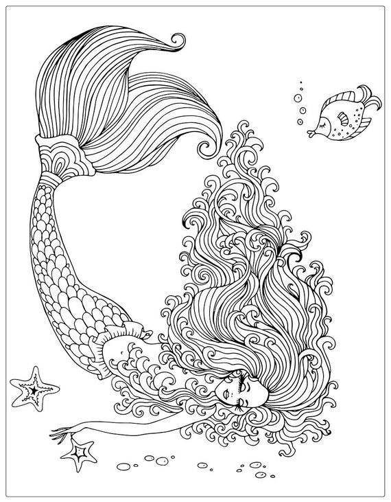 Mermaids (Coloring Books, Coloring Pages, Adult Coloring Books, Adult  Coloring Pages, Coloring Books for Adults)
