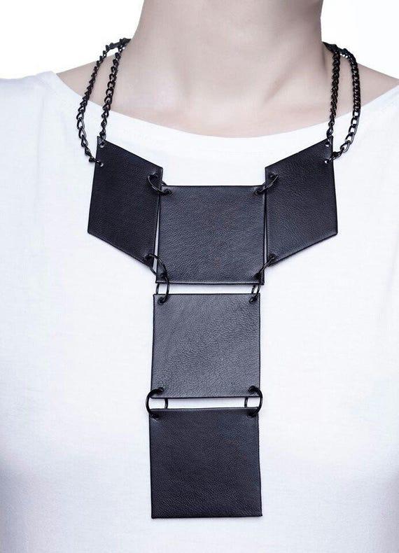 MAYKO LEATHER JEWELRY Leather Geometric Necklace Statement Necklace Handmade Leather Jewelry Pendant Necklace Leather Necklace
