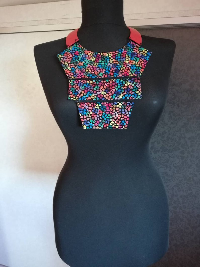 Girlfriend Gift Leather Statement Necklace Bib Necklace, BDSM Necklace Gift for Mom Women Necklace Handmade Necklace