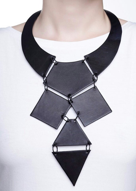 Body Jewelry Avant Garde Necklace Long Necklace Gothic Necklace Leather Necklace Extravagant Necklace Steampunk Bib Necklace