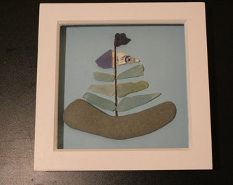 Handmade seaglass, pebble box frame boat picture