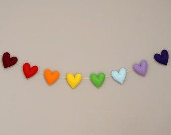 Rainbow hearts garland, heart garland, rainbow garland, rainbow felt heart garland