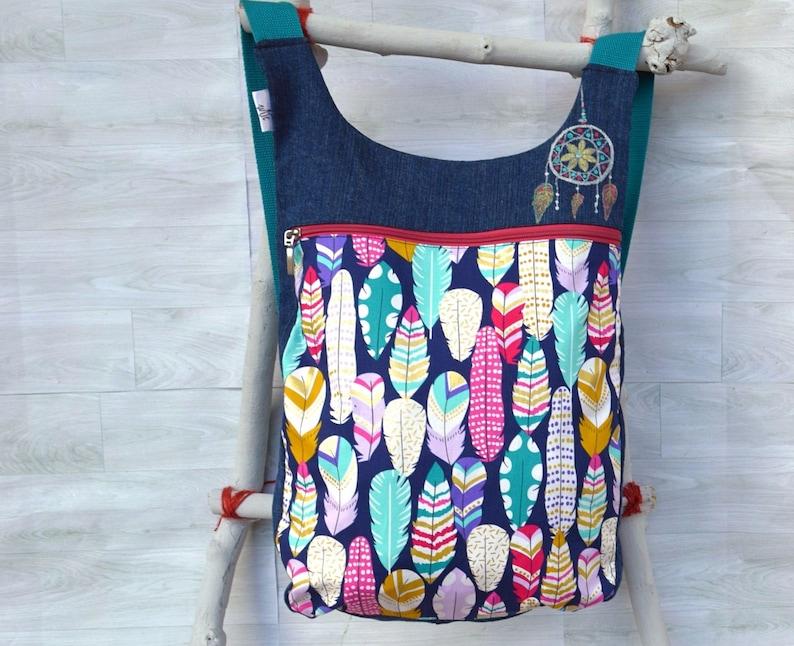 Feathers backpack: Womens backpack purse School backpack Feathers Fashion backpack Backpack diaper bag Denim backpack Ergonomic