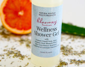 Natural Shower Gel, Organic Body Wash, Aromatherapy Soap with Essential Oils, Natural Liquid Body Soap, Wellness Gift For Self, At Home Spa