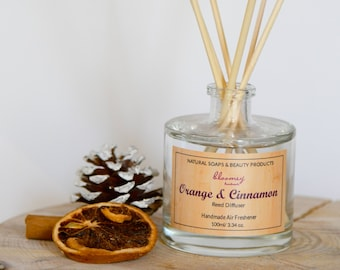 Orange & Cinnamon Reed Diffuser, Eco-Friendly Home Scent, Natural Air Freshener, Spicy Home Fragrance, Autumn Home Decor, Home Office Decor