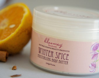 Orange Body Butter, Cinnamon Scented Body Cream, Soothing Moisturizer, Orange & Cinnamon Lotion, Whipped Body Butter, Holiday Self Care Gift