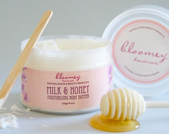 Milk & Honey Body Butter, Whipped Body Butter, Organic Body Moisturizer, Honey Scented Body Cream, Skin Soothing Lotion, Natural Body Care