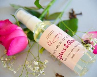 Organic Body Oil, Rose Body Oil, Body Spray, Body Oil Spray, Organic Body Moisturizer, Scented Bath Oil, Natural Skin Care, Body Care, Vegan