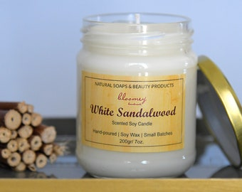 White Sandalwood Soy Candle, Non-Toxic Candle, Sandalwood Scented Candle, Eco-Friendly Home Scent, Candle Decor, New Home Gift, Holiday Gift