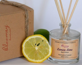 Natural Lemon Scented Diffuser, Lime Air Freshener, Refreshing Home Scent, Bathroom Décor Fragrance, New Home Gift, Desk Décor, Hygge Décor