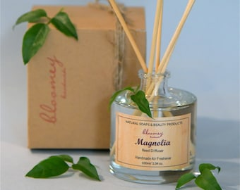 Magnolia Home Fragrance, Natural Air Freshener, Magnolia Reed Diffuser, New Home Gift, Bathroom Décor, Eco-Friendly Home Scent, Desk Decor