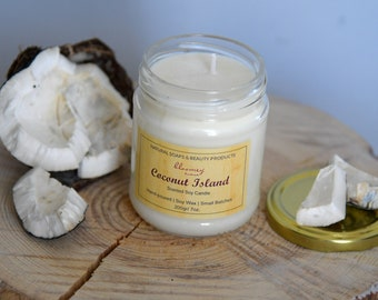 Coconut Soy Candle, Summer Scented Candle, Non-Toxic Home Scent, Hygge Candle Décor, New Home Gift, Desk Décor Idea, Coconut Home Fragrance
