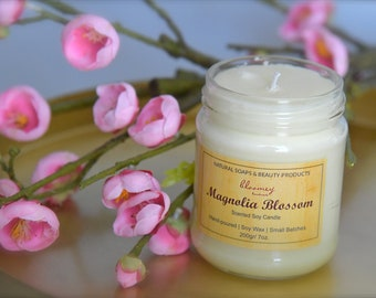 Magnolia Soy Candle, Spring Scented Home Fragrance, Non-Toxic Hand-poured Candle, Housewarming Gift, Home Office Décor, Candle Home Decor