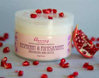 Raspberry & Pomegranate Body Butter, Whipped Body Butter, Raspberry Body Cream, Organic Body Moisturizer, Skin Soothing Lotion, Self Gift