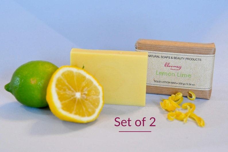 2 Lotion Bars Lemon Lime Pack of 2 Skin Nourishing Body image 0