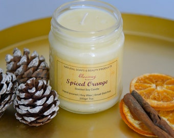 Orange & Cinnamon Soy Candle, Holiday Candle. Spicy Scented Home Fragrance, Booklover's Gift, Christmas Home Scent, Housewarming Gift Idea
