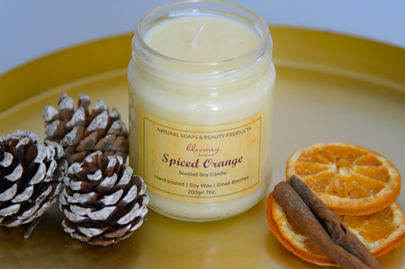 Orange & Cinnamon Soy Candle Holiday Candle. Spicy Scented image 1