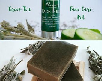 Face Care Package, Green Tea Toner, Lemon Soap Bar, Soothing Cucumber Toner, Green Tea Soap, Face Mist With Aloe, Lavender Face Toner, Vegan