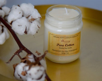 Cotton Soy Candle, Organic Soy Candle, Cotton Scented Candle, Candle Decor, Natural Home Fragrance, Booklover's Gift, Holiday Candle Gift