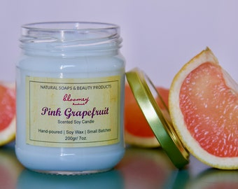 Pink Grapefruit Candle, Summer Soy Candle, Grapefruit Scented Candle, Hygge Bathroom Décor, Natural Home Fragrance, Candle Gift, Desk Décor