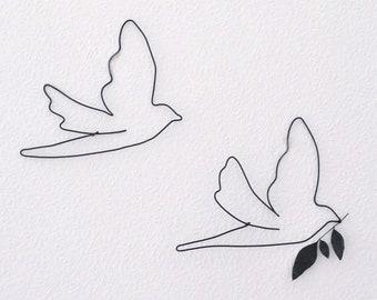 2 swallows, birds, wall swallow, metal bird, metal birds, wall decoration, bird, iron wall decoration, wire