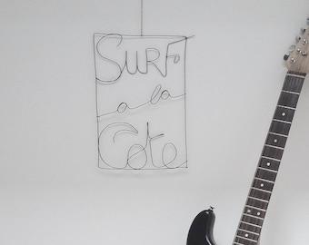 Black wire wall art, poster vintage biarritz basque coast, beach, ocean, surfing in the Basque coast, surf decor surf poster