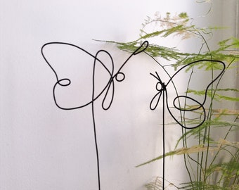 3 butterflies, butterflies to plant, flower pot, plant, standing butterfly, flower picket, decorative butterfly, wire butterfly, sculpture
