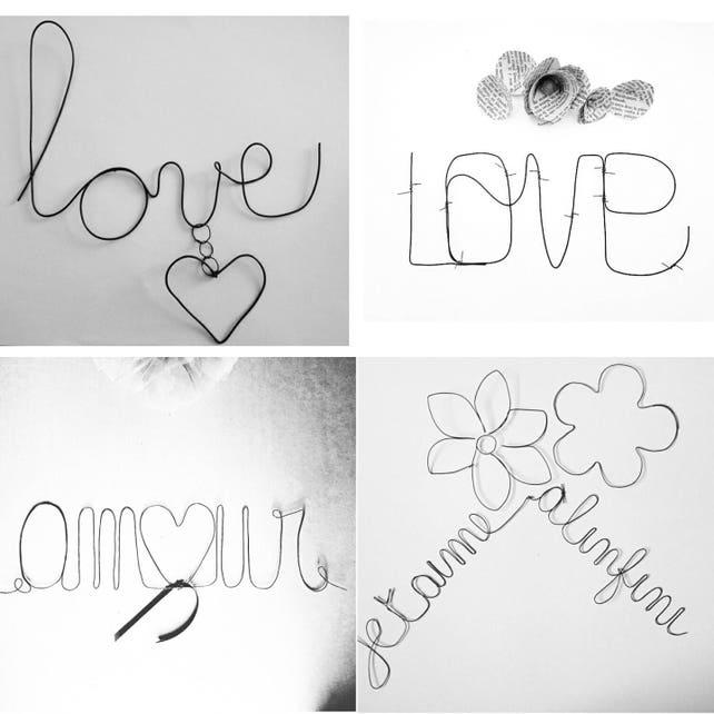 Dekorative Liebe Wort Wort in Draht Wort Liebe und Liebe | Etsy
