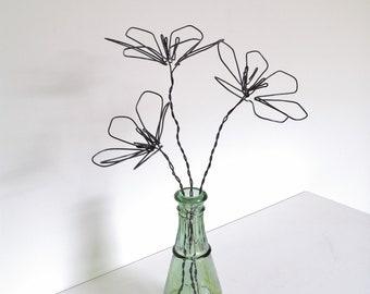 3 flowers, wire flowers, metal flowers, artificial flowers, bouquet, bouquet of flowers, wire bouquet, decoration flowers, gift