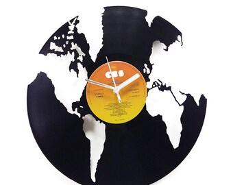 World Globe Vinyl Clock