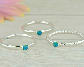 Blue Australian Opal Stacking Ring - Sterling Silver - Made to Order - Dainty Opal Stack Ring - Blue Opal Jewellery - Stackable Opal Rings