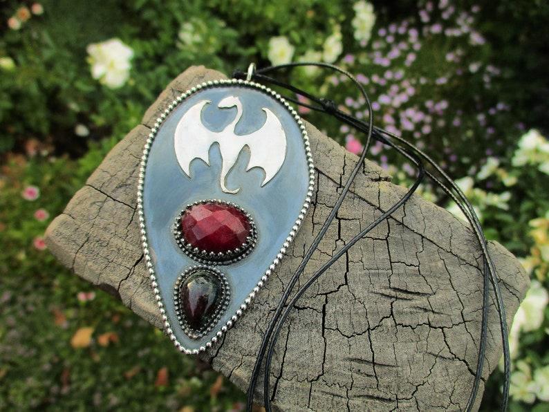 Ruby /& Ruby Zoisite Dragon Pendant F\u00e1fnir/'s Lair Sterling Silver