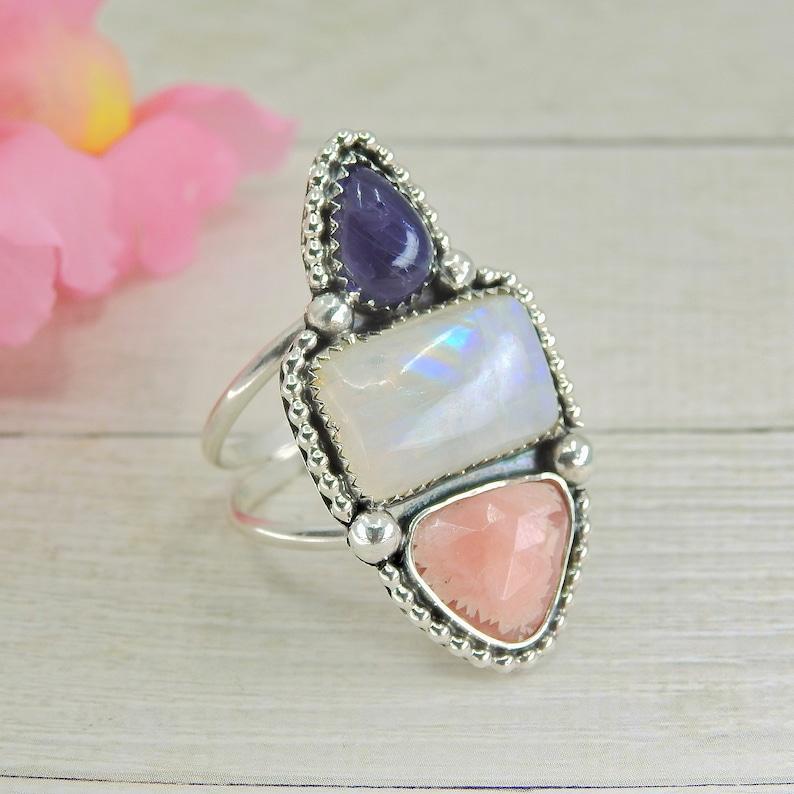 Moonstone /& Iolite Ring Triple Stone Ring Rhodochrosite Size 11 to 11 14 Statement Gemstone Jewelry Multi Stone Sterling Silver