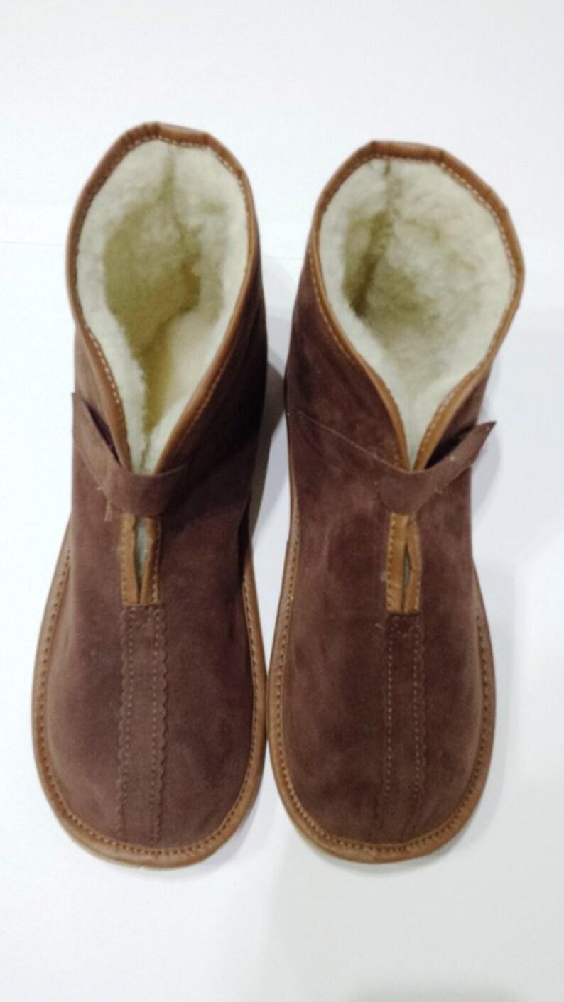 08b2cde0558 Leather slippers Sheepskin Men s slippers Lambskin