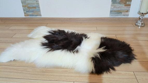 Black And White Sheepskin Rug Super Soft Silky Long Hair Fur Rug Scandinavian Style Icelandic Sheepskin Sale Handcrafted