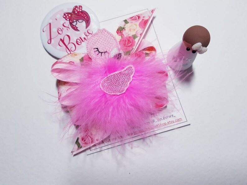 Floral pink ribbon bow Flamingo Furbaby Hair Bow Zos Bows