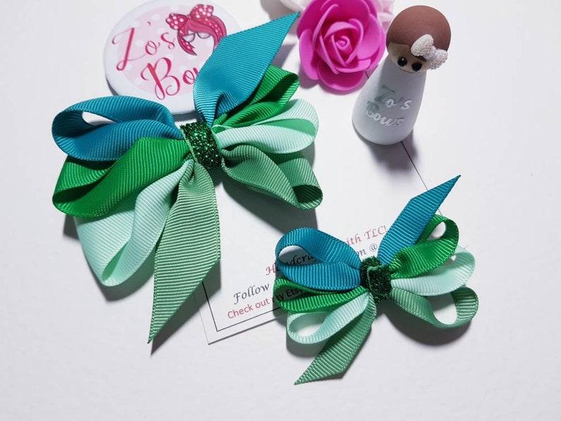Green Mix Ribbon Hair Bow Small ribbon Bow Big ribbon Bow Zo/'s Bows