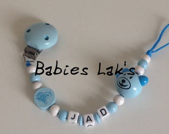 Blue white Teddy bear pacifier clip