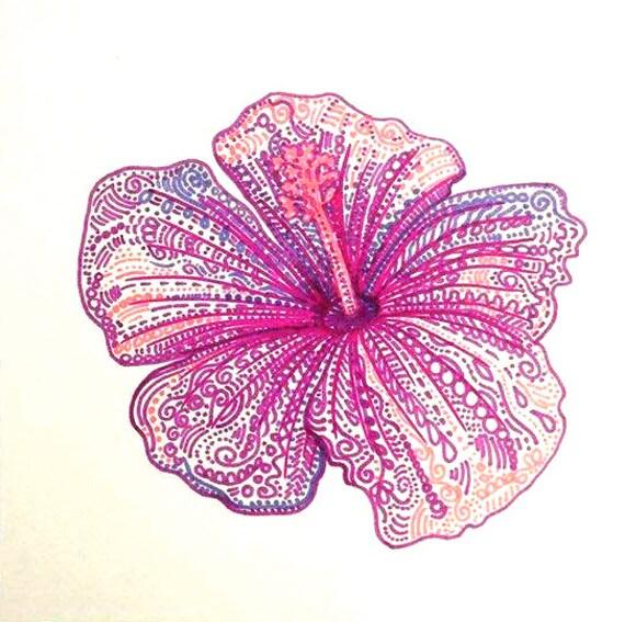 Tropical flower drawing floral art pink flower drawing purple mightylinksfo