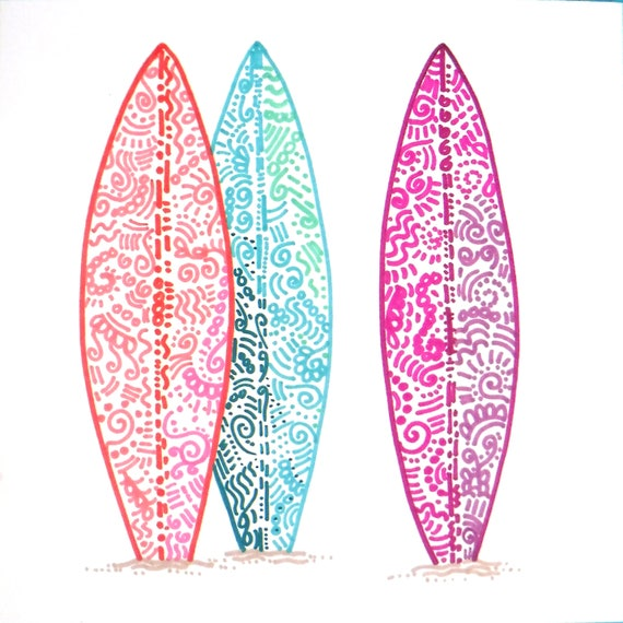 planche de surf surfboard color dessin mur d cor tropical etsy. Black Bedroom Furniture Sets. Home Design Ideas