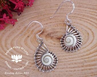 3cdce68d5 Silver Ammonite Earrings Nautilus Dangle Earrings Shiva Eye Shell Fossil  Earrings Ammonite Jewelry Silver Drop Earrings Nautilus Jewellery