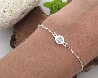 Om adjustable link chain Bracelet, Sterling Silver Meditation bracelet, Yoga jewelry gift, Spiritual Charm bracelet, Om jewelry